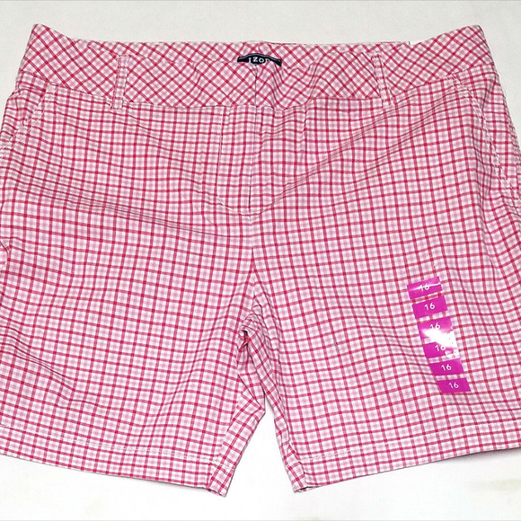 Izod Pants - Izod Bar Harbor Womens Pink Plaid Shorts (Size 16)